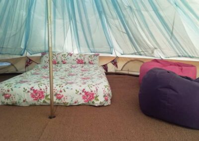 Secluded Bell and Touareg tent glamping on Kent arable farm near Canterbury, Folkestone and Ashford