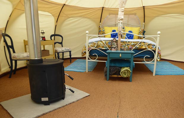 Bell tent glamping at Clavertye Shepherds Huts in Kent near Eurotunnel, Dover, Canterbury and Ashford