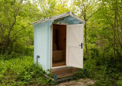 Composting loo for Lotus Stargazer tent and Touareg tent glamping near Eurotunnel, Canterbury and Dover in Kent