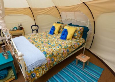 Lotus Belle Stargazer tent glamping luxury double bed near Eurotunnel, Canterbury and Dover in Kent