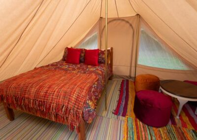 Touareg tent glamping near Eurotunnel, Canterbury and Dover in Kent double bed