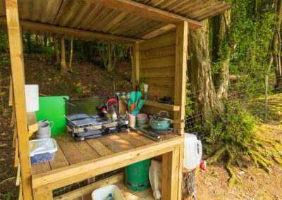 Camp kitchen for Valley Lotus Belle Stargazer tent glamping near Elham, Canterbury, Folkestone and Dover in Kent
